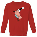 Festive Robin Kids' Sweatshirt - Red
