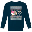 Pusheen Through The Snow Kids' Christmas Sweatshirt - Navy