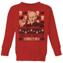 Star Trek: The Next Generation Make It So Kids' Christmas Sweatshirt - Red