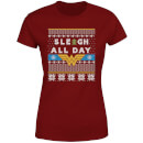 Wonder Woman 'Sleigh All Day Women's Christmas T-Shirt - Burgundy