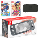 Nintendo Switch Lite (Grey) Pokémon Sword and Pokémon Shield Double Pack