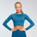 MP Women's Shape Seamless Long Sleeve Crop Top - Pilot Blue  - XS