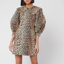 Ganni Women's Printed Cotton Poplin Mini Dress - Leopard