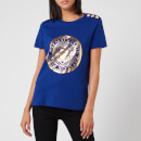 Balmain Women's 3 Button Metallic Coin T-Shirt - Blue