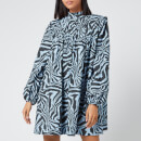 Ganni Women's Printed Cotton Poplin Mini Dress - Forever Blue