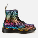 Dr. Martens Kids' 1460 Metallic Suede Lace-Up Boots - Black/Rainbow