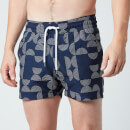 Frescobol Carioca Men's Jacquard Shade Sport Swim Shorts - Navy Blue
