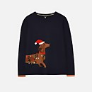 Joules Women's Festive Intarsia Knit Jumper - Navy Dog