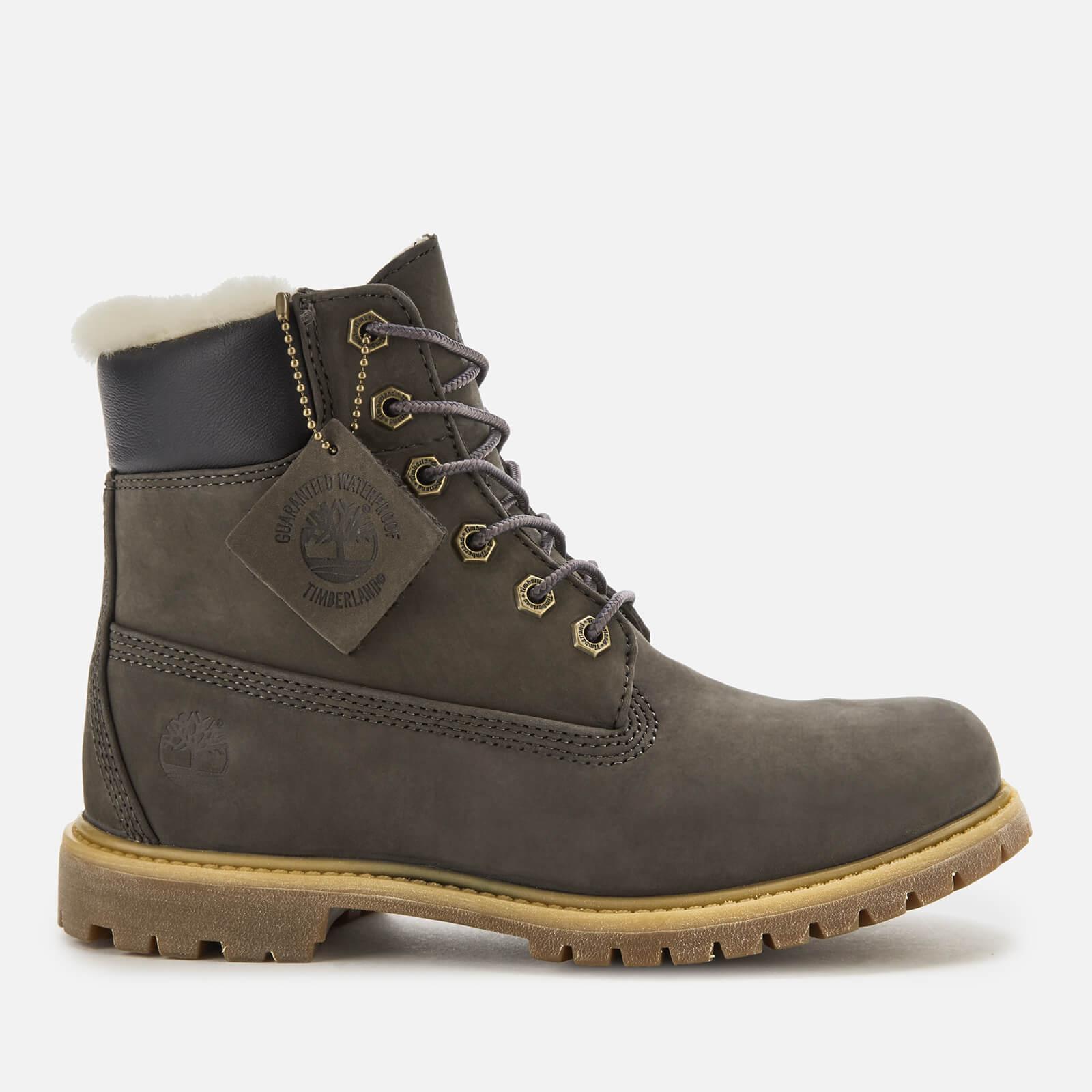 Timberland Women's 6 Inch Premium Shearling Boots - Dark Grey Nubuck - UK 4