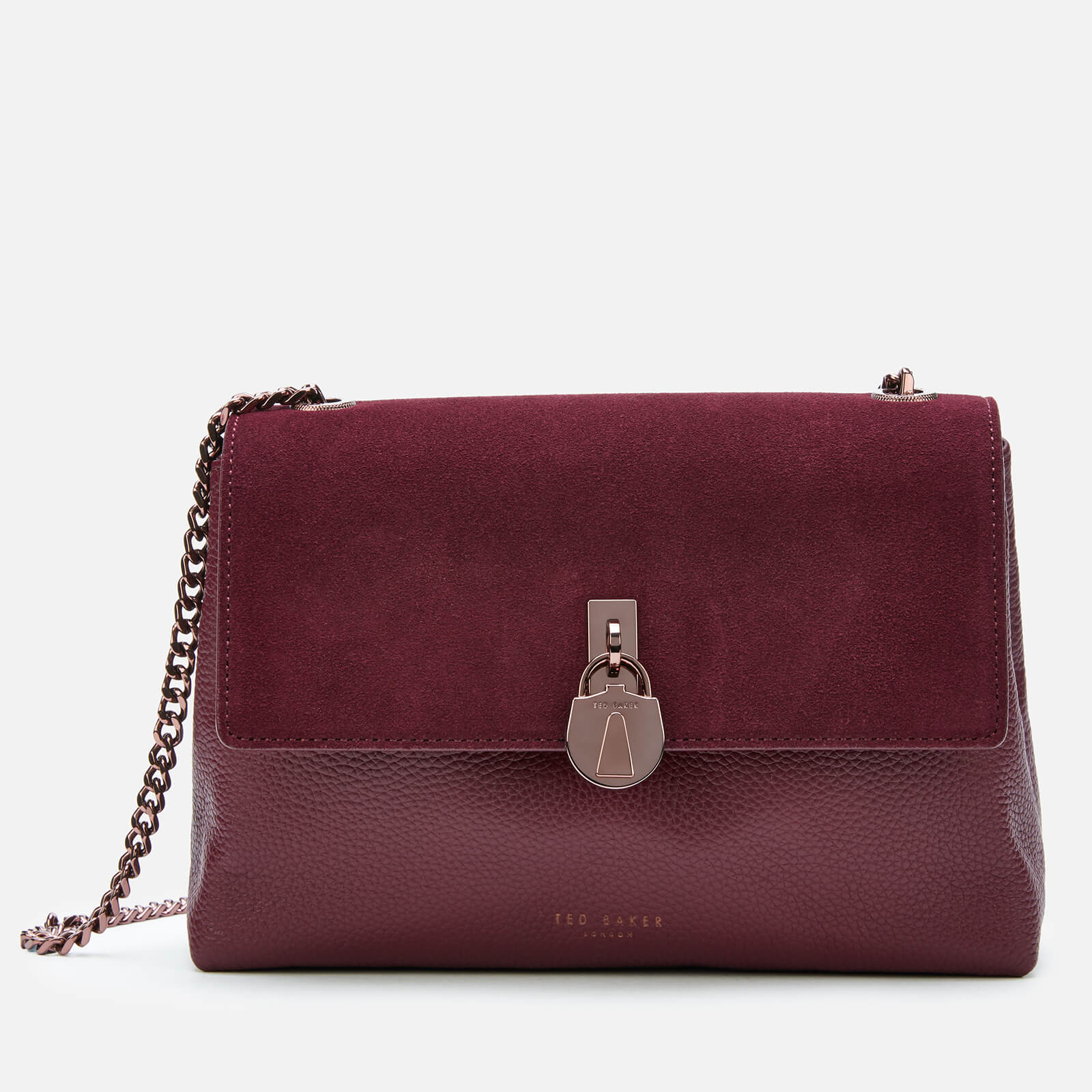 Ted Baker Women's Helena Suede Padlock Cross Body Bag - Deep Purple