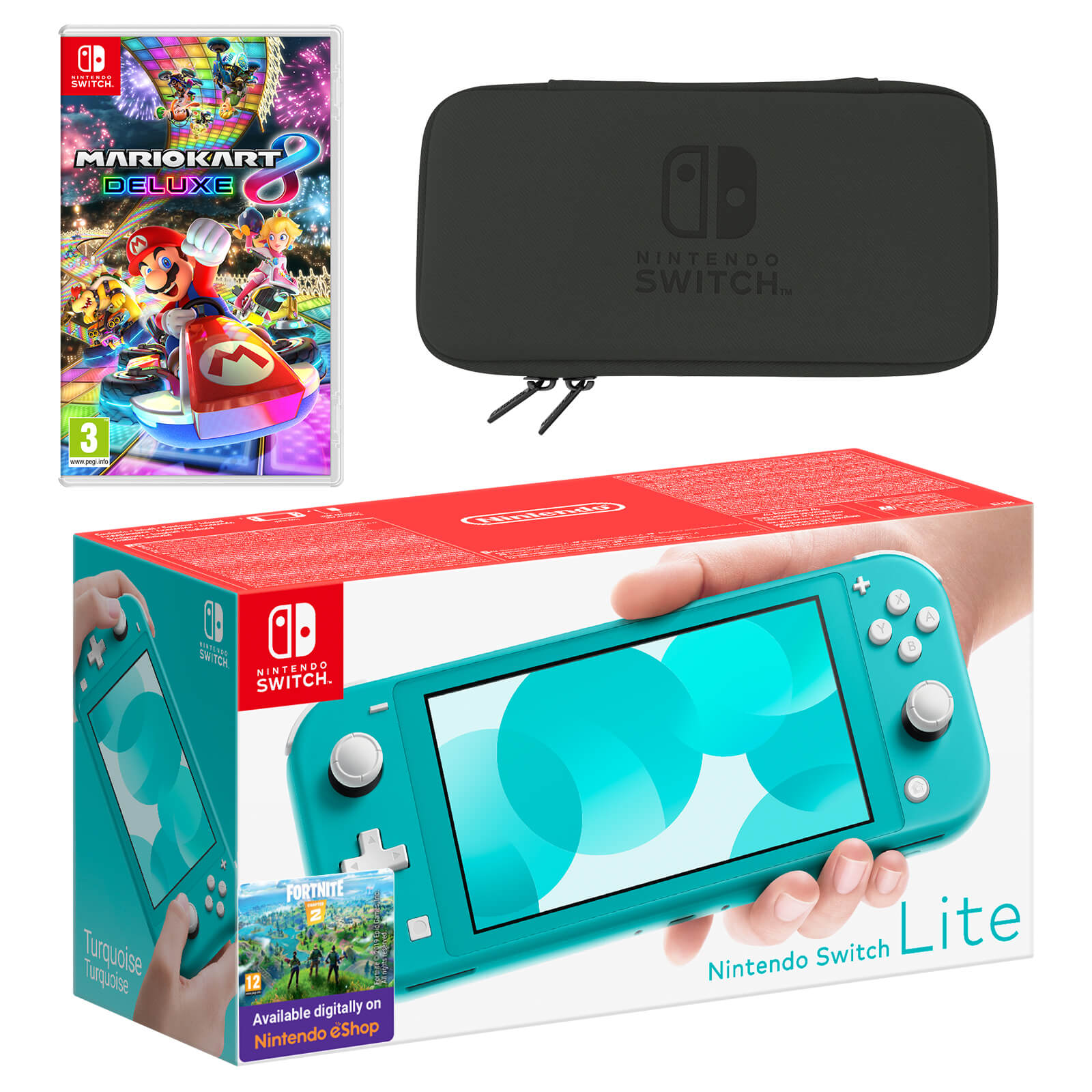 Nintendo Switch Lite Turquoise Mario Kart 8 Deluxe Pack