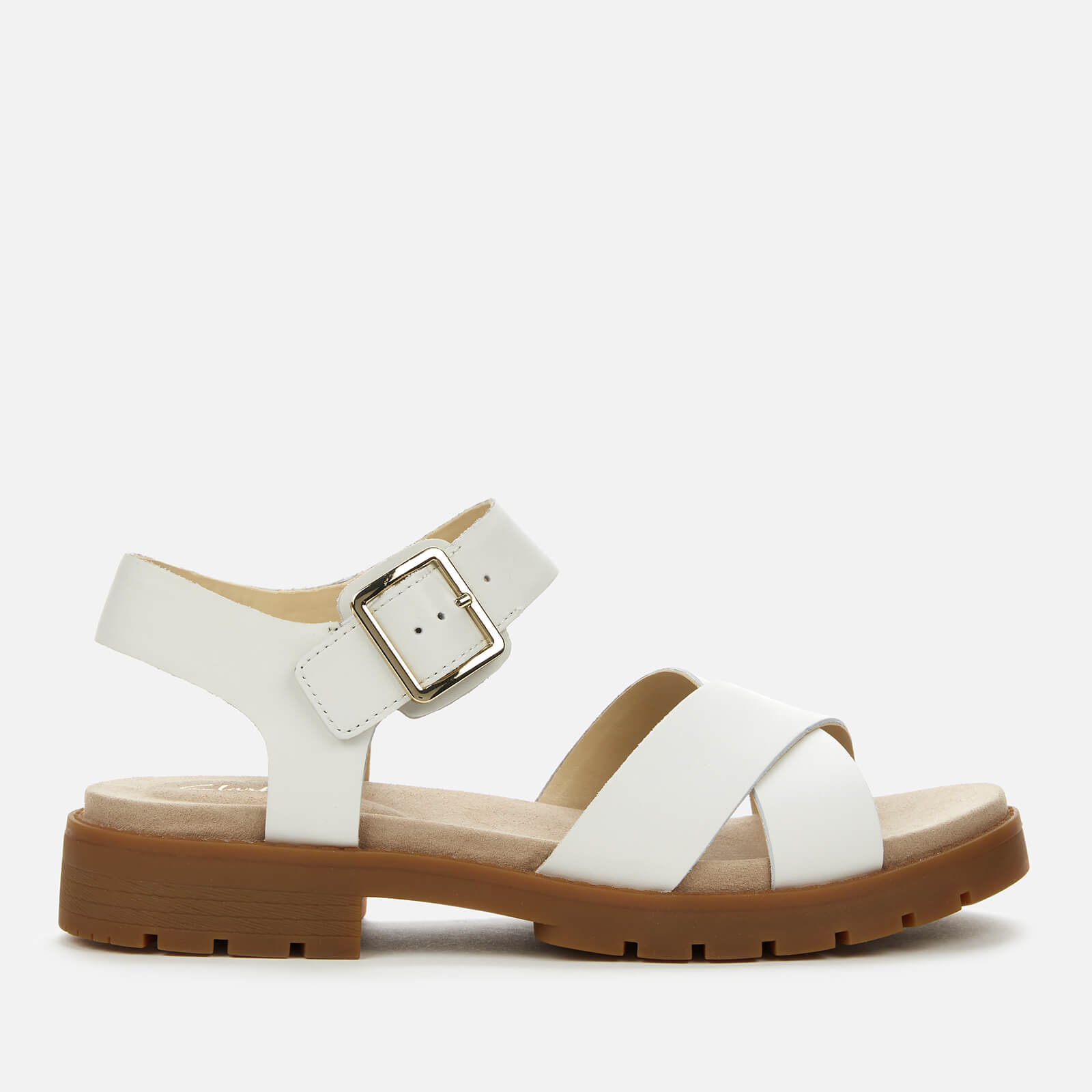 Clarks Women's Orinoco Strap Leather Sandals White