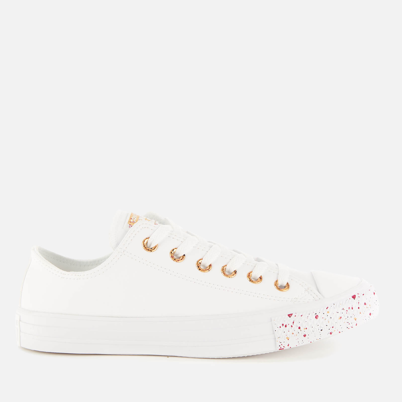 Converse Women's Chuck Taylor All Star Speckled Ox Trainers WhiteGoldRose Maroon