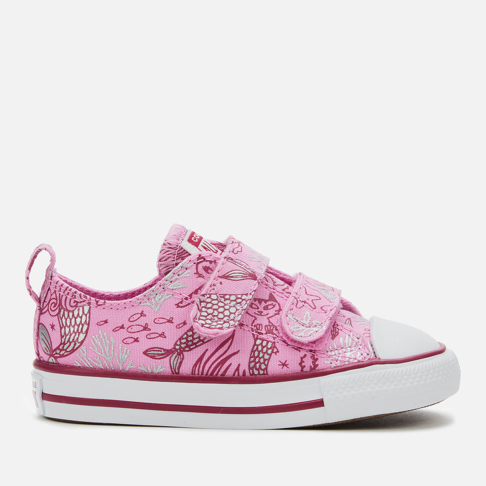 Converse Toddlers' Chuck Taylor All Star 2V Mermaid Ox Trainers Peony PinkRose MaroonWhite