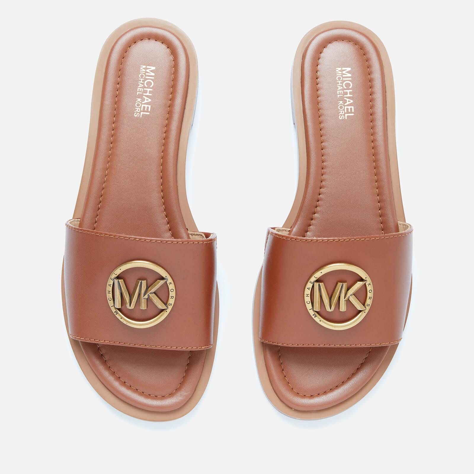 Brynn Leather Slide Sandals - Luggage