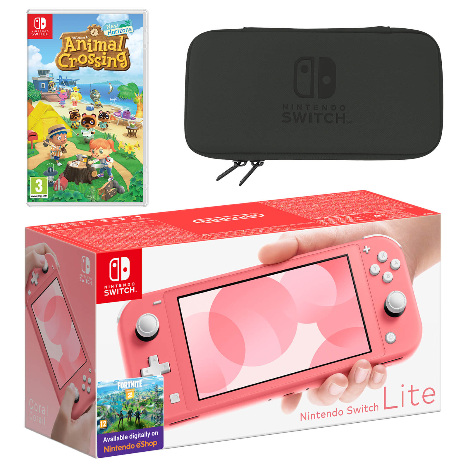 Nintendo Switch Lite Coral Animal Crossing New Horizons Pack