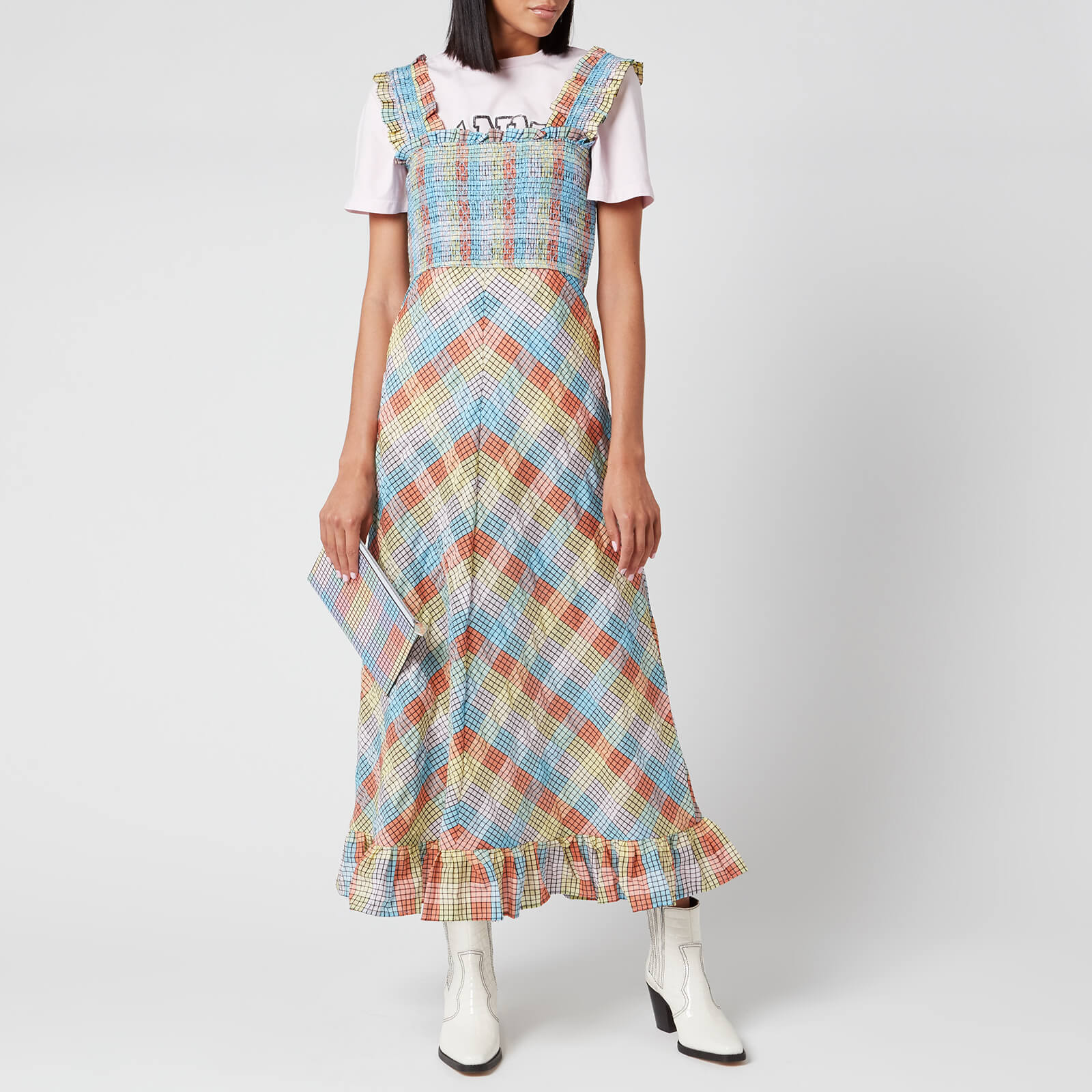 Ganni Women S Seersucker Check Midi Dress Multicolour Free Uk
