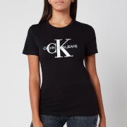 Calvin Klein Jeans Women's Monogram Logo Regular Fit T-Shirt - CK Black