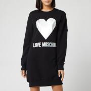 Love Moschino Women's Silver Heart Sweat Dress - Black