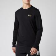 Emporio Armani EA7 Men's Small Logo Long Sleeve Top - Black/Gold