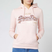 Superdry Women's V Logo Sequin Line Entry Hoody - Shell Pink Marl