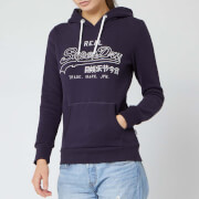 Superdry Women's V Logo Emb Outline Entry Hoody - Rinse Navy