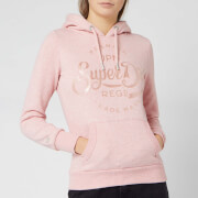 Superdry Women's Prem Script Satin Entry Hoody - Shell Pink
