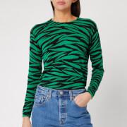 Whistles Women's Tiger Stripe Printed Crew Neck Top - Green/Multi