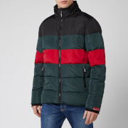 Superdry Men's Colour Stripe Sports Puffer Jacket - Dark Forest