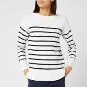 Barbour Women's Stripe Guernsey Knitted Jumper - Cloud