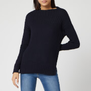 Barbour Women's Stitch Guernsey Knitted Jumper - Navy