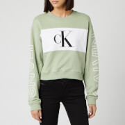 Calvin Klein Jeans Women's Blocking Statement Logo Crew Neck Sweatshirt - Earth Sage