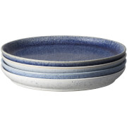 Denby Studio Blue 4 Piece Coupe Dinner Plate Set