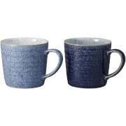 Denby Studio Blue Ridged Mugs - 400ml (Set of 2)