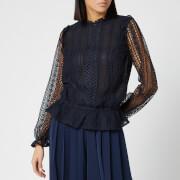 Ted Baker Women's Cosmee Zip Up Woven Front Top - Dark Blue