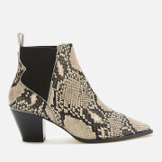 Ted Baker Women's Rilans Snake Print Western Style Ankle Boots - Natural