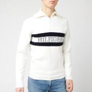 Tommy Hilfiger Men's Chest Logo Zip Neck Top - Ecru
