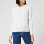 Superdry Women's Croyde Cable Knitted Jumper - White Sparkle