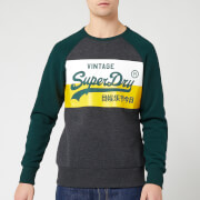 Superdry Men's Vintage Label Sweat Shirt Store Colourblock Crew Neck - Graphite Dark Marl