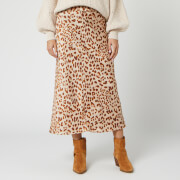 Free People Women's Normani Bias Skirt - Brown Leopard