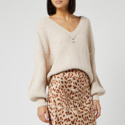 Free People Women's All Day Long V Neck Jumper - Sand