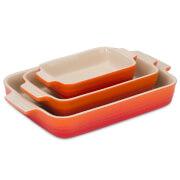 Le Creuset Stoneware 3 Piece Rectangular Dish Set - Volcanic
