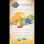 Mykind有機純植物性維他命D3咀嚼錠 - 覆盆子檸檬 - 30錠