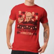 Star Trek: The Next Generation Make It So Men's Christmas T-Shirt - Red