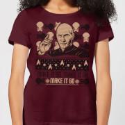 Star Trek: The Next Generation Make It So Christams Women's Christmas T-Shirt - Burgundy