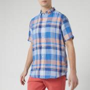 GANT Men's Linen Madras Red BD Short Sleeve Shirt - Hamptons Blue