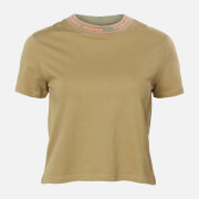 Tommy Jeans Women's TJW Branded Neck T-Shirt - Olive Tree