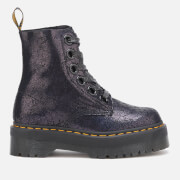 Dr. Martens Women's Molly Iridescent Crackle 8-Eye Boots - Black