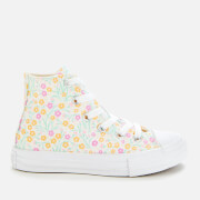 Converse Kids' Chuck Taylor All Star Floral Hi-Top Trainers - White/Topaz Gold/Peony Pink
