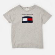 Tommy Kids Girls' Fun Graphic Flag T-Shirt - Light Grey Heather